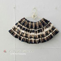 Lun grid pattern fabric Lace trim cake divided skirts