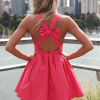 Coral Blessed Angel Cross Bow  Cross Back Dress from xeniaeboutique