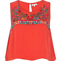 Red embroidered tank top - crop tops / bralets / bandeau tops - tops - women