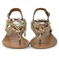 Alloy Chain and Beaded Rainbow Color Sandals YB625