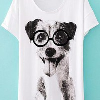 Cute Dog Slim Cotton T-shirt