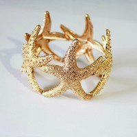 cute golden bling bling sea stars bracelet