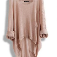 Bat Casual Loose Asymmetric Sweater
