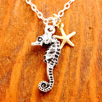 Seahorse Necklace - starfish necklace, sea horse necklace, beach necklace, ocean necklace, coastal necklace, summer necklace, ocean theme