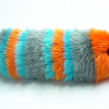 Reserved for Christa Orange Gray & Aqua Snuggle Worm Fuzzy Caterpillar Medium Sized