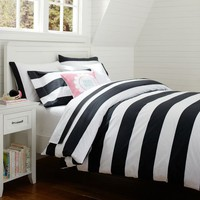 Cottage Stripe Duvet Cover + Sham, Black