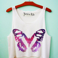 Galaxy Butterfly Crop Tank Top