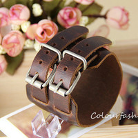 Graduation Gift, High Quality, metal buckle, natural Brown Leather Cuff, Punk Rock, Steampunk, wristband watch, vegetable tanned leather