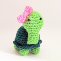 Crocheted Amigurumi  Girl Turtle Stuffed Animal by HookAndStitches