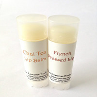 French Pressed Lips, Chai Tea & Coffee Vegan Lip Balms, Cafe Lips, Chapstick, Gift Set