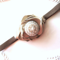 CIJ Sale 25% Off Pearl Headband Elastic Headband Gold Ribbon Rosette