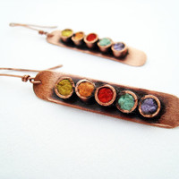 Colorful summer earrings handcraft copper dangle earrings
