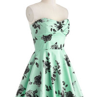ModCloth Vintage Inspired Long Strapless Fit & Flare Traveling Cupcake Truck Dress in Mint Roses