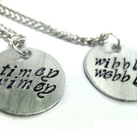 Wibbly Wobbly Timey Wimey - Set of Matched Doctor Who Pendants, Brushed Aluminum | foxwise