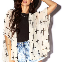 Cross Print Chiffon Cardigan