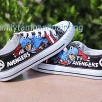 Custom Converse All Star Chuks-Paint Captain America on Converes Sneakers Low Top
