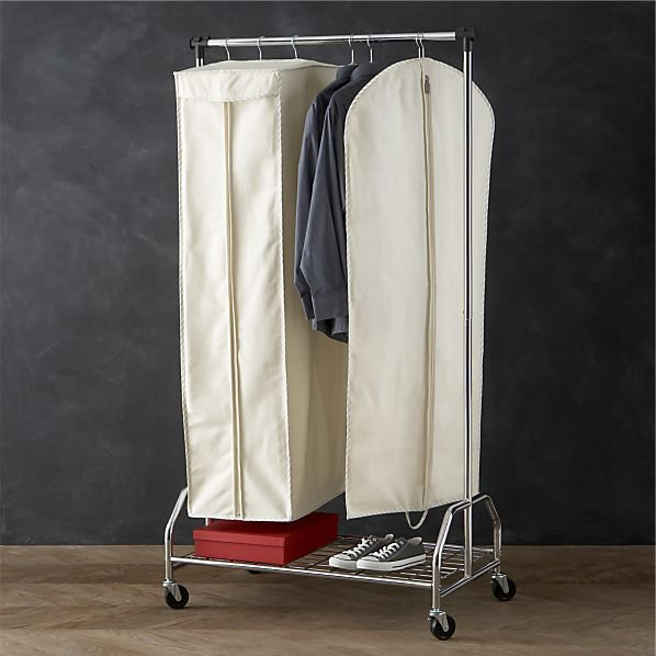 twill hanging garment storage bags with from crate and barrel. Black Bedroom Furniture Sets. Home Design Ideas