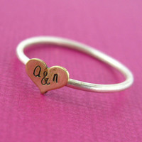 Personalized Wide Heart Initials Stacking Ring in Sterling Silver - Heart Initials Ring