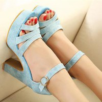 Candy Color High Heel Sandals for Women NGC23F