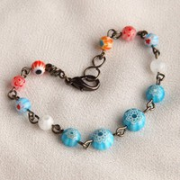 Handmade Millefiori Beaded Gun Metal Bracelet | peaceloveandallthingsjewelry - Jewelry on ArtFire