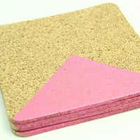 Drink Coasters - Hot Pink Geometric Cork Coasters - Set of 4 Hand painted coasters
