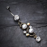 Vintage Pearl Journey Belly Button Ring