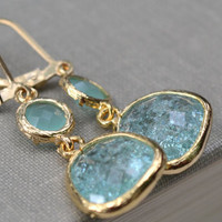 Ernite and Mint Green Framed Glass  Earrings, Gold Fill Lever Back, Synthetic Frame Gemstone, Bridesmaid Earrings