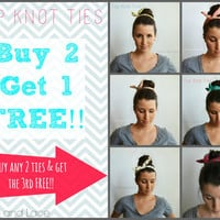 BUY 2 GET 1 FREE - Top Knot Tie - 6 colors polkadot bun wrap - hair tie head scarf head wrap - wire hair tie wire headband