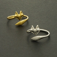Fox Ring / Silver, Gold / Adjustable Ring / R039