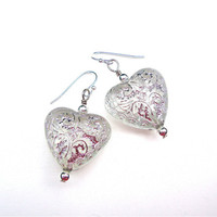 Shimmery silver and frosted white heart earrings - silver shimmer heart earrings - heart earrings - by Sparkle City Jewelry