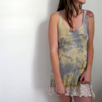 Hand Dyed Tie Dye Mini Dress Tunic Lace Summer Beige Blue Cream Shabby Chic Bohemian Top