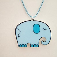 Blue Elephant Acrylic Necklace - Childrens Necklace - Bertie The Elephant - Hoobynoo World