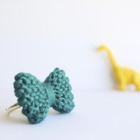 Bow Ring Knitted In Turquoise, Cerulean: READY TO SHIP