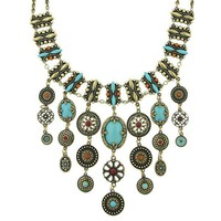 Marrakesh Turquoise Tribal Bib Necklace - Statement Necklaces - Necklaces