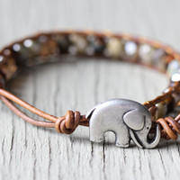 Lucky Elephant Leather Wrap Bracelet : Neutral, Earth-Toned Beaded Bohemian Friendship Cuff, Adjustable, Natural, Elephant Button