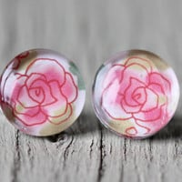 Fake Plugs : Red, White and Pink, Flower Outline Stud Earrings, Fake Plugs, Cabochon, Flat Back, Stencil