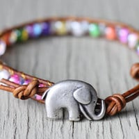 Lucky Elephant Leather Wrap Bracelet : Colorful Beaded Bohemian Friendship Cuff, Adjustable, Natural, EcoFriendly, Elephant Button, Silver