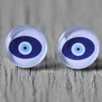 Evil Eye Earrings : Blue and White Evil Eye Stud Earrings, Fake Plugs, Cabochon, Flat Back, Simple, Zen, Yoga, Spirit