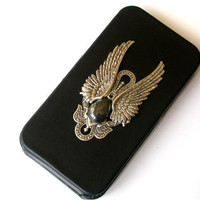 Gothic iPhone 4 and 4s Flip Case Silver Angel by LeBoudoirNoir