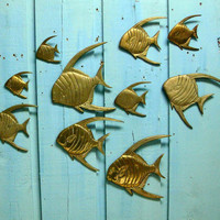 Brass Angel Fish - Large School of Vintage Brass Angel Fish Beach House Decor
