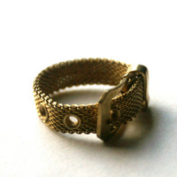 Belt Buckle Ring Vintage Adjustable Metal Mesh Band
