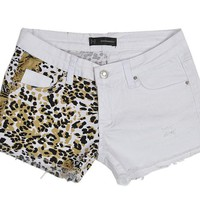 Sexy Leopard White Denim Shorts for Women