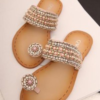 Rhinestone and Beads Flat Sandals PL060521 from topsales