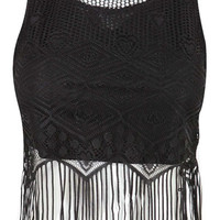 Black Fringe Lace Crop Top at Fashion Union