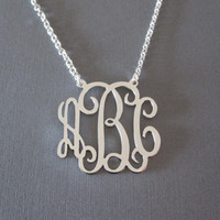 White Gold Monogram Necklace  3 different size by SpeciallyForU