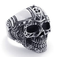 KONOV Jewelry Mens Biker Stainless Steel Skull BIG Heavy Biker Ring - Silver Black (Available in Size 9, 10, 11, 12, 13) (with Gift Bag):Amazon:Jewelry