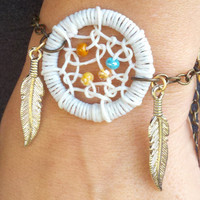Dream Catcher Bracelet with Silver Feathers by MidnightsMojo
