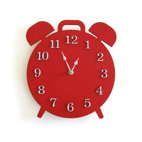 Modern Retro Alarm Shaped Clock - Red