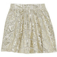 Alice + Olivia | Jaylyn patterned metallic mesh skirt | NET-A-PORTER.COM