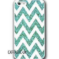 Iphone 4 4s 5 case cover apple glitter patern blue chevron sparkle